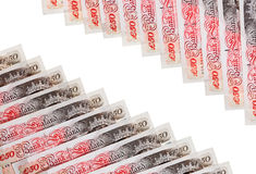 Many 50 pound sterling bank notes Royalty Free Stock Photos