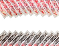 Many 50 pound sterling bank notes background Royalty Free Stock Photography