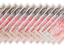 Many 50 pound sterling bank notes background Royalty Free Stock Photo