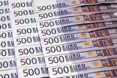 Many 500 Euro banknotes. Big amount of Five hundred notes of European Union Currency Royalty Free Stock Images