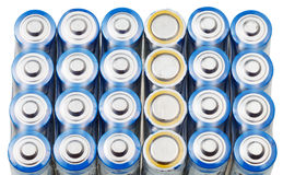 Many AA electric batteries close up Royalty Free Stock Photography