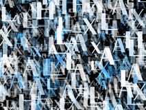 Many abstract blue alphabet letters Stock Photos