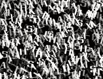 Many abstract chaotic grey alphabet letters Royalty Free Stock Photography