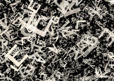 Many abstract chaotic grey alphabet letters Royalty Free Stock Image