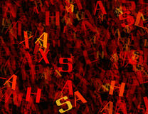 Many abstract chaotic red alphabet letters Royalty Free Stock Photo