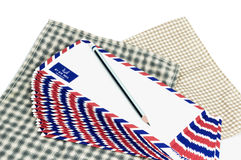 Many air mail letter on the white background. Stock Photos