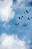 Many airplanes in the sky Royalty Free Stock Image