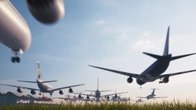 Many airplanes take-off