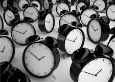 Many alarm clock. On a gray background Royalty Free Stock Image