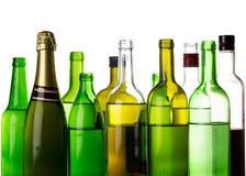 Many alcohol drinks bottles. On white Stock Image