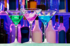 Many alcohol drinks with ice in the bar Royalty Free Stock Photo