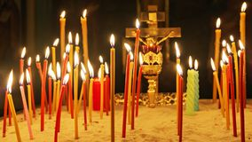 Many alight Memorial Church candles.  Stock Images