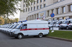 Many ambulances near the building Government of Vologda region Royalty Free Stock Images