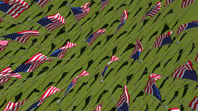 Many American flags in green field. Many American flags blowing in the wind in green field. View from above. Three dimensional rendering illustration 3D Stock Image