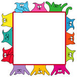Many amusing cats around a square billboard Royalty Free Stock Photo