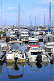 Many anchored yachts,Sozopol port Royalty Free Stock Images