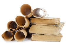 Many ancient scrolls and old books Stock Photos