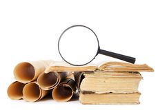 Many ancient scrolls and old books Stock Photography