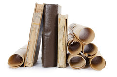 Many ancient scrolls and old books Stock Photo