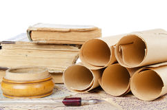 Many ancient scrolls on old letters Stock Photo