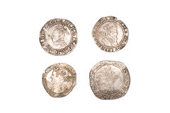 Many Ancient Silver Coins On Over White Royalty Free Stock Image