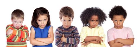 Many angry children. Isolated on a white background stock photo