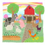 Many animals and fun green farm vector illustration