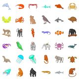 Many animals icons set, cartoon style Stock Image