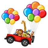 Many animals on jeep with colorful balloons. Illustration Royalty Free Stock Photography