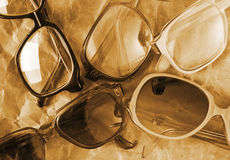 Many antique glasses Royalty Free Stock Photos