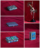Many antique silver chest with red velvet inner Stock Photography