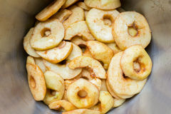 Many apple slices in metal pan Stock Image