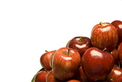 Many Apples With Copy Space. Many red shiny apples piled up with copy space Stock Images