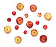 Many apples fruits isolated white background. Many apples fruits isolated on a white background Royalty Free Stock Images