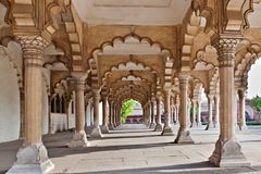 Many arches inside Red Fort. Agra, India royalty free stock photography