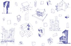 Many architectural sketches of a modern abstract architecture and geometric objects Royalty Free Stock Photography