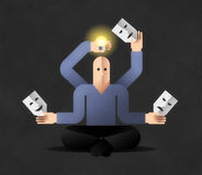 Meditation. Many armed cartoon man in lotus position, holding masks and lightbulb. Comic illustration on the theme of Generating New Ideas Royalty Free Stock Image