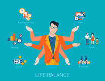 Many armed man life balance lifestyle in flat vector. Flat life balance many armed young man abstract shiva lifestyle concept. Male figure with multi hands Royalty Free Stock Images