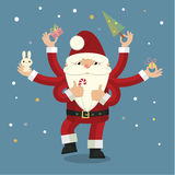 Many-armed Santa Claus on blue. Christmas illustration with many-armed Santa Claus on blue background close up details Royalty Free Stock Photo