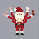 Many-armed Santa Claus on gray Stock Photos