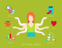 Many armed woman life balance lifestyle in flat vector. Flat life balance many armed young woman abstract shiva lifestyle concept. Female figure with multi hands Stock Photo