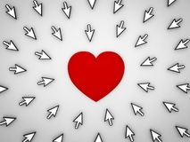 Many arrow cursors clicking social media red heart button. Isolated on grey background. 3D rendering Stock Images