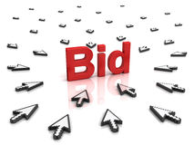 Many arrow cursors mouse clicking red bid text. Many arrow cursors mouse clicking red bid button or link on white background with reflection Royalty Free Stock Photo