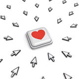 Many arrow cursors mouse clicking red heart button or link. On white background with reflection. 3D rendering Royalty Free Stock Image