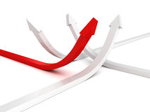 Many arrows different directions with red successful leader Royalty Free Stock Images