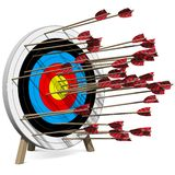 Many Arrows hit the Target Royalty Free Stock Photos