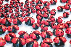 Many artificial lady bug toy royalty free stock photography