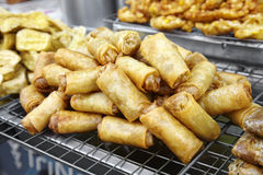 Many asian springroll fried Stock Photography