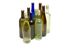 Many Assorted Wine Bottles with White Background Royalty Free Stock Image