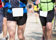 Many athletes run in the outdoor race on the road Royalty Free Stock Photo